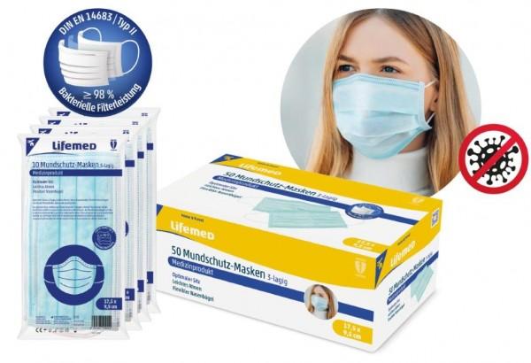 medizinische Mundschutz-Masken 3-lagig 50 Stück