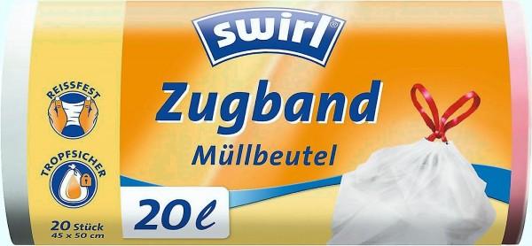 SWIRL Müllbeutel m. Zugband 20 ltr. VE=9