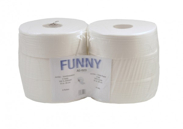 Toilettenpapier Jumbo Zellstoff weiss 2lg. 6x360m