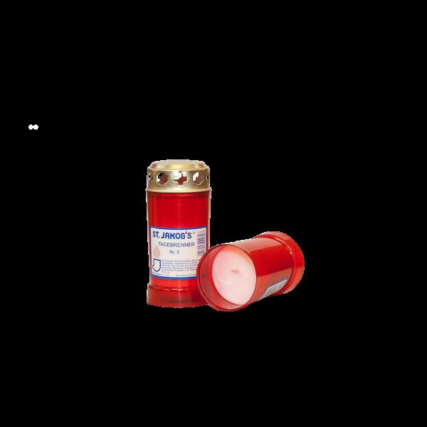 Grablichter Wachsbrenner Nr. 3 rot mit Golddeckel 24 Stück