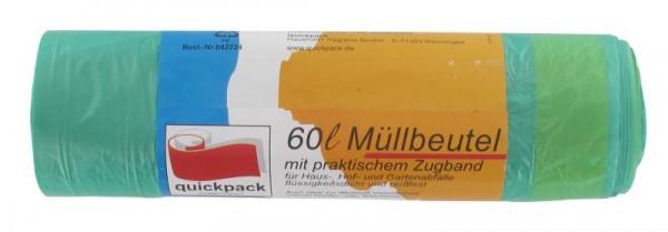 Müllbeutel quickpack 60ltr.grün m. Zugband VE=27