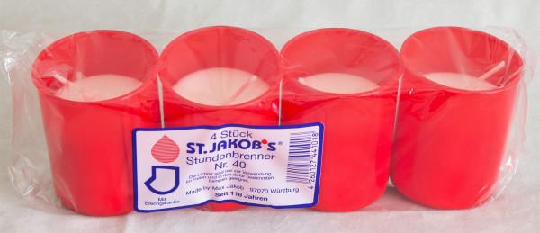 Grablichter St. Jakobs Nr. 40 rot 100 Stück
