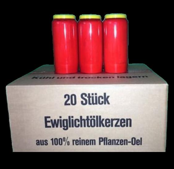 Grablichter Ewiglicht 100% Pflanzenöl rot VE=20